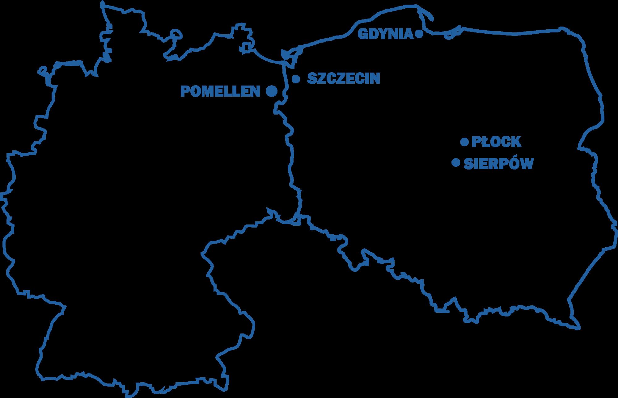 Mapa z zaznaczonymi oddziałami w Płocku, Sierpowie, Szczecinie, Gdyni i Pomellen